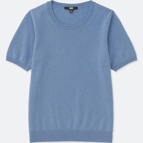 カシミヤクルーネックセーター(半袖)、カラー:63 BLUE