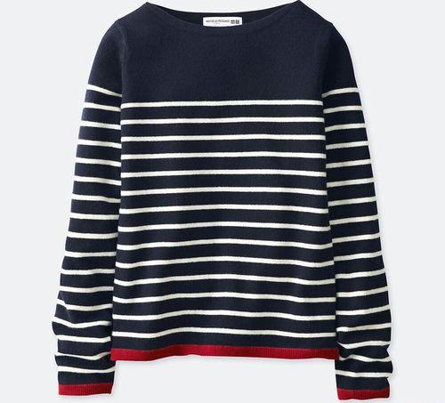 カシミヤボーダーセーター(長袖)、カラー:69 NAVY