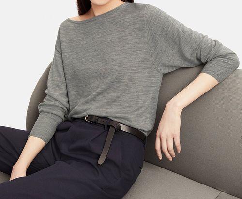 エクストラファインメリノボクシーボートネックセーター(長袖)、カラー:04 GRAY
