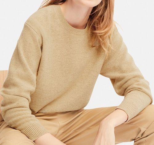 プレミアムラムクルーネックセーター(長袖)、30 NATURAL
