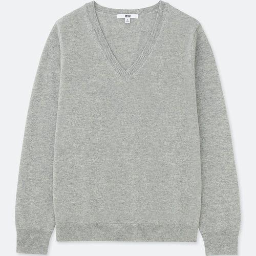 カシミヤVネックセーター(長袖)、カラー:02 LIGHT GRAY