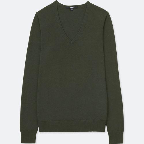 エクストラファインメリノVネックセーター(長袖)、カラー:08 DARK GRAY