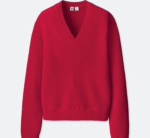 ウールVネックセーター(長袖)、カラー:15 RED