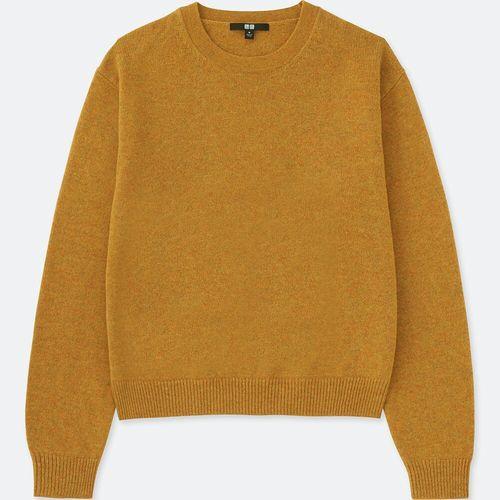 プレミアムラムクルーネックセーター(長袖)、47 YELLOW