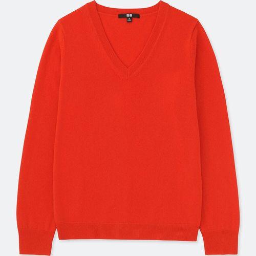 カシミヤVネックセーター(長袖)、カラー:16 RED