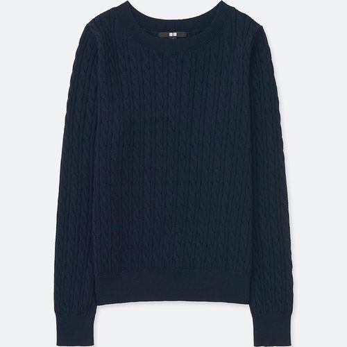 コットンカシミヤケーブルボートネックセーター(長袖)、69 NAVY
