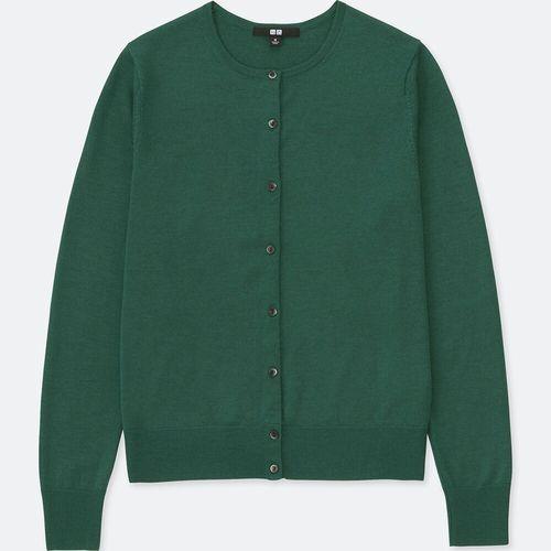 エクストラファインメリノクルーネックカーディガン(長袖)、カラー:55 GREEN
