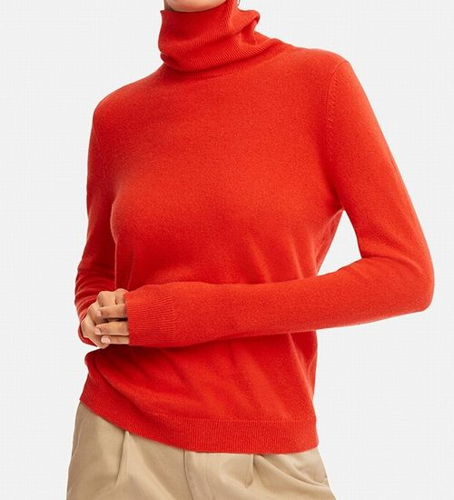 カシミヤタートルネックセーター(長袖)、27 ORANGE