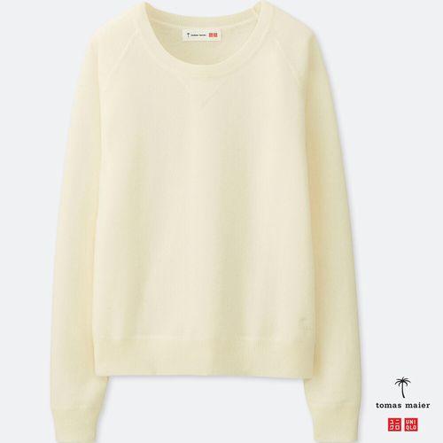 カシミヤクルーネックセーター(長袖)、01 OFF WHITE