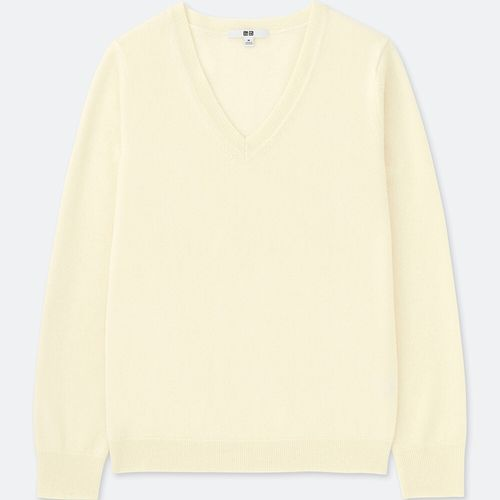 カシミヤVネックセーター(長袖)、01 OFF WHITE