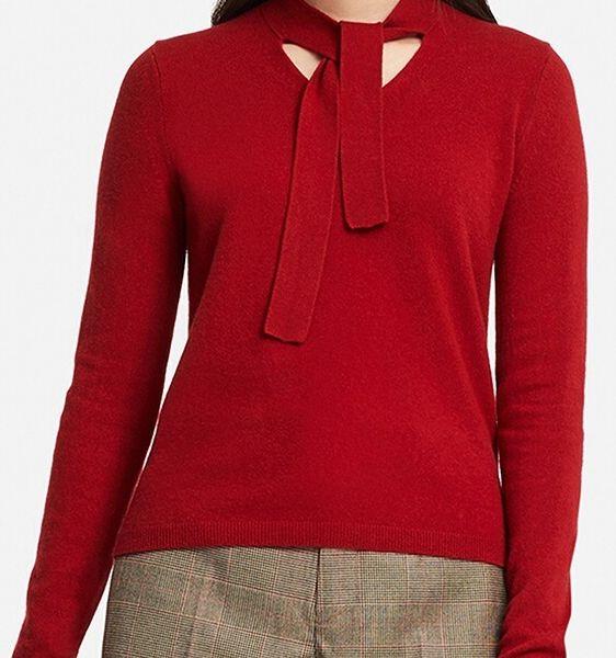 カシミヤリボンタイセーター(長袖)、カラー:15 RED