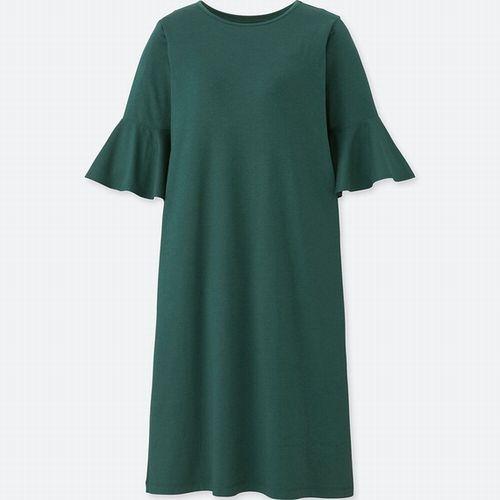 フレアースリープブラワンピース(5分袖)、お色:58  DARK  GREEN