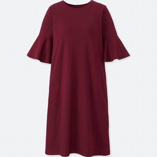フレアスリーブブラワンピース(5分袖)、カラー:17 RED