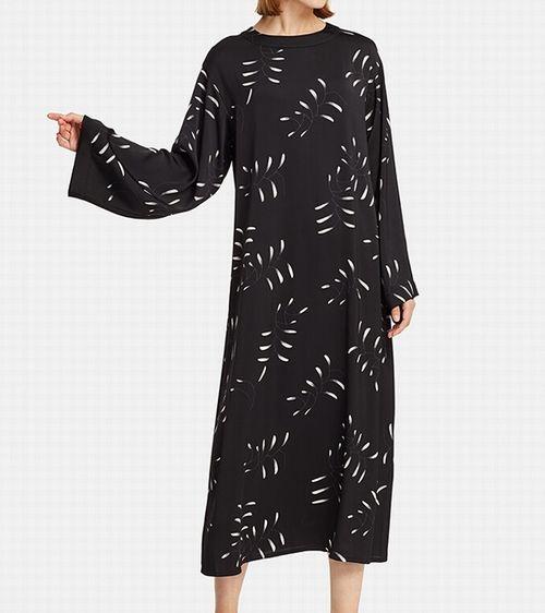 フレアロングドレス(長袖)、お色:09 BLACK