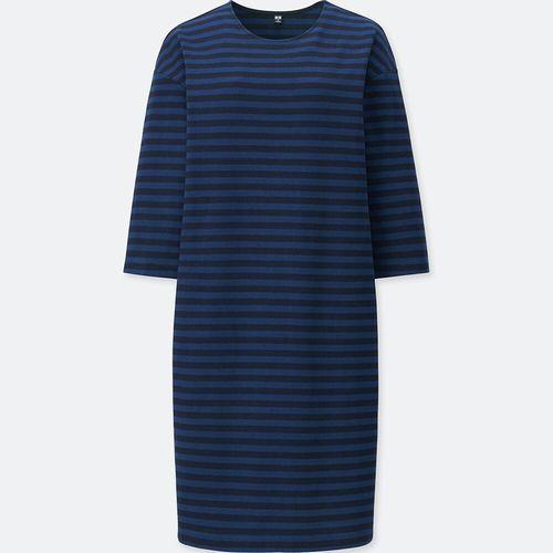 ボーダークルーネックワンピース(7分袖)、カラー:68 BLUE