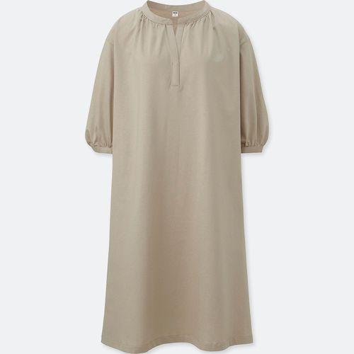 マーセライズギャザースリーブワンピース(7分袖)、お色:30NATURAL