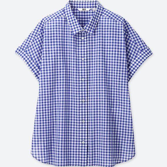 ユニクロ、ソフトコットンチェックシャツ(半袖)ブルー