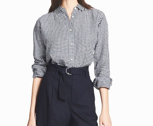 プレミアムリネンチェックシャツ(長袖)ネイビー