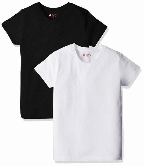 Hanes、クルーネックTシャツ┃ジャパンフィット FOR HER (お色、ブラック&ホワイト)