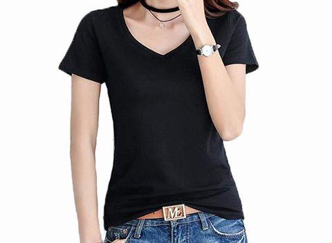 JHIJSC、レディースVネックtシャツ お色ブラック