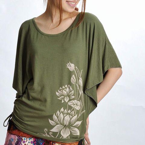 アマゾン、MARAI(マーライ)肩越し柔らかロマンティック しなやかポンチョ風Tシャツ グリーン