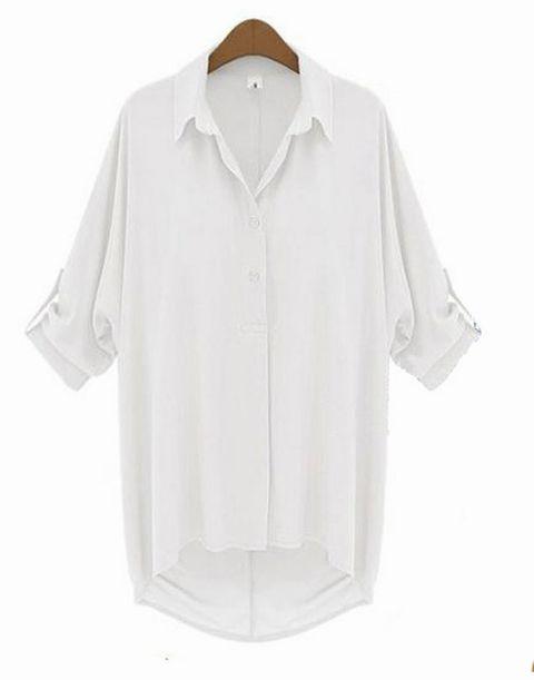 SOLO TU(ソーロ トゥ)、ゆったりデザイン シフォンシャツ ホワイト