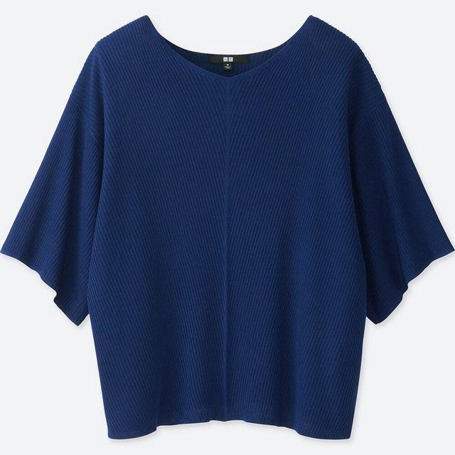 ユニクロ、リブドルマンVネックセーター(7分袖)ブルー