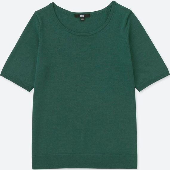 エクストラファインメリノクルーネックセッター(5分袖)グリーン┃UNIQLO