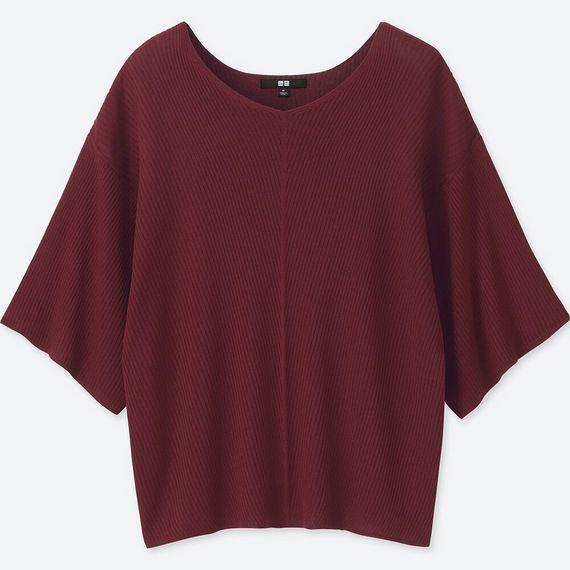 リブドルマンVネックセーター(七分袖) ワイン┃ユニクロ