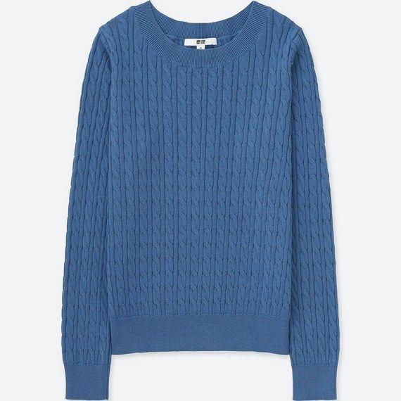 ユニクロ、コットンカシミヤケーブルポートネックセーター(長袖) ブルー