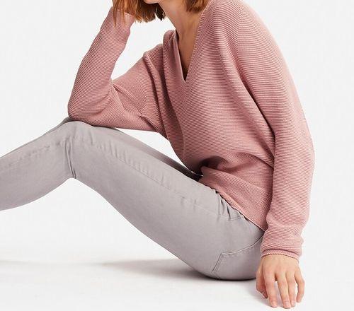 3Dコットンコクーンセーター(長袖)PINK┃uniqlo