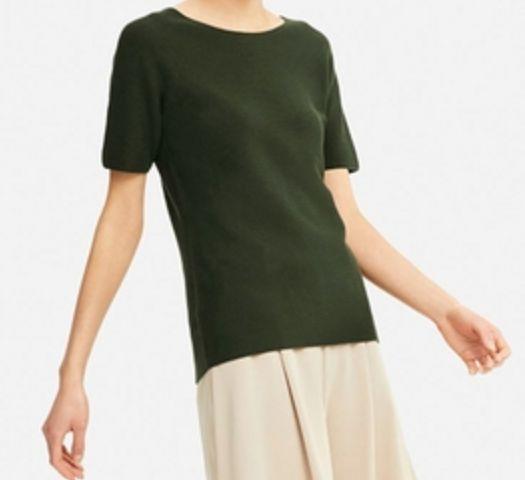 UNIQLO┃3Dコットンクルーネックセーター(半袖) ダークグリーン