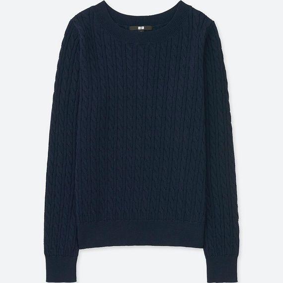 コットンカシミヤケーブルポートネックセーター(長袖) NAVY