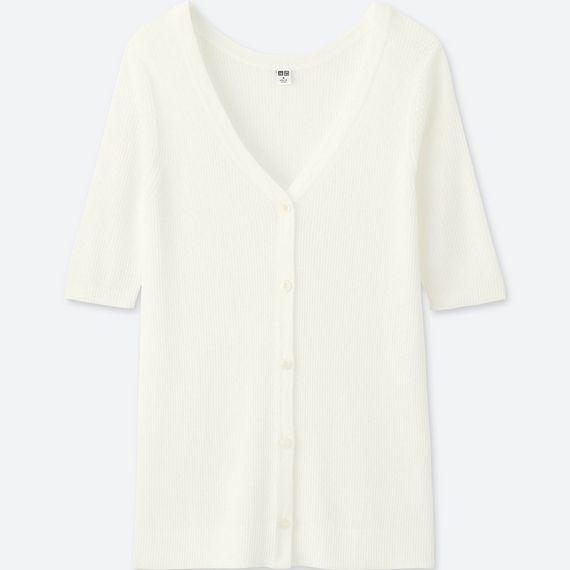 ライトVネックリブカーディガン(5分袖)オフホワイト