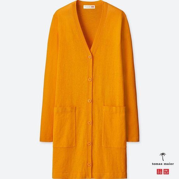 ロングカーディガン(長袖) オレンジ色