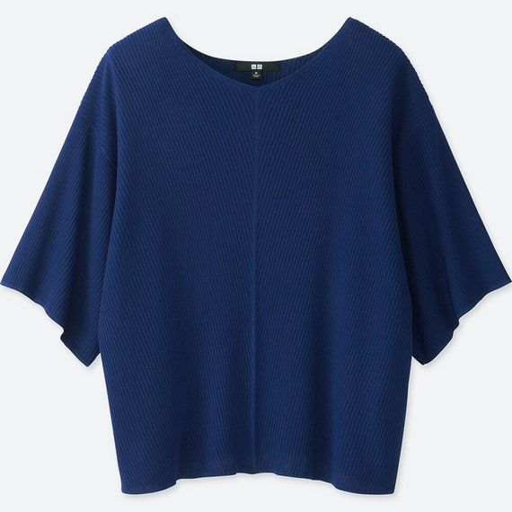 リブドルマンVネックセーター(7分袖)blue