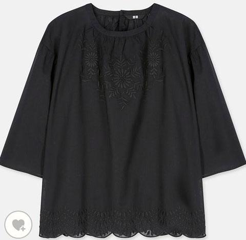 コットンエンブロイダリーブラウス(7分袖)、カラー:09 BLACK