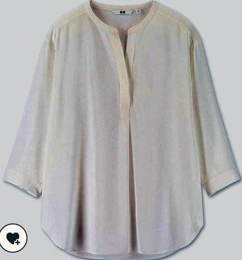 レーヨンエアリースキッパーカラーブラウス(7分袖)、00 WHITE