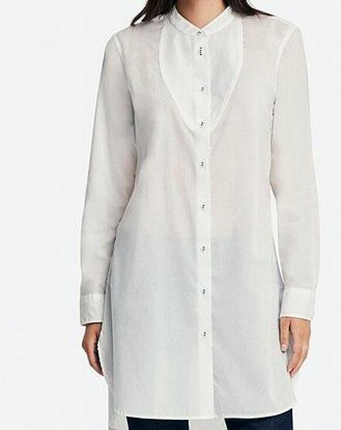 コットンローンチュニック(長袖)、カラー:00WHITE