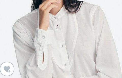 コットンローンチュニック(長袖)、カラー:白