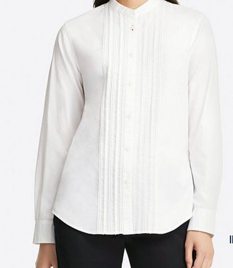 コットンツイルピンタックシャツ(長袖)、00white
