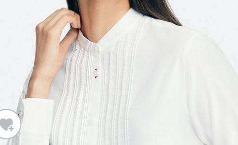 コットンツイルピンタックシャツ(長袖)、00 WHITE
