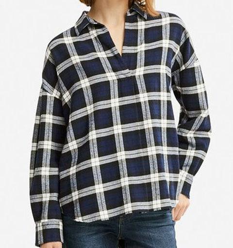 フランネルスキッパーシャツ(長袖)、69 NAVY
