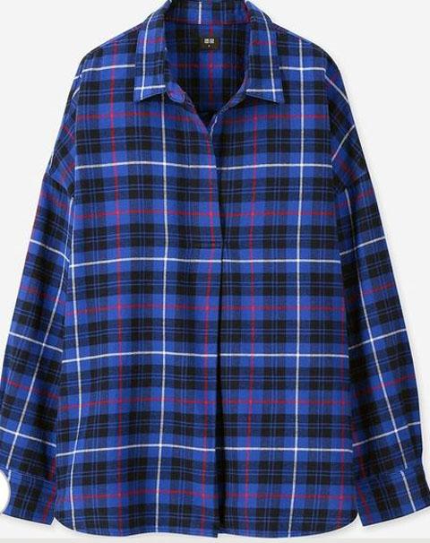 フランネルチェックスキッパーシャツ(長袖)、67 BLUE