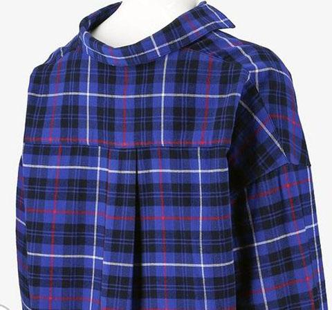 フランネルチェック スキッパーシャツ(長袖)、カラー:67 BLUE