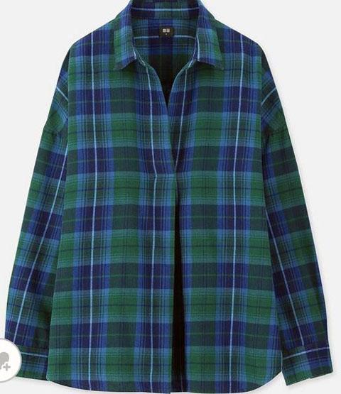 フレンチネルチェックスキッパーシャツ(長袖)、カラー:55 GREEN