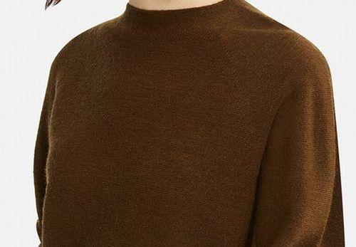 3Dウールモックネックワンピース(長袖・レギュラー丈・103~112.5cm)、36 BROWN