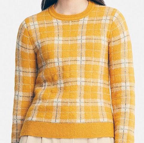 ジャカードセーター(長袖)、44 YELLOW