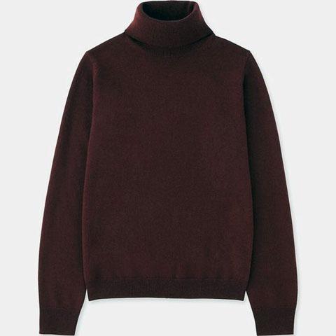 カシミヤタートルネックセーター(長袖)、18 WINE