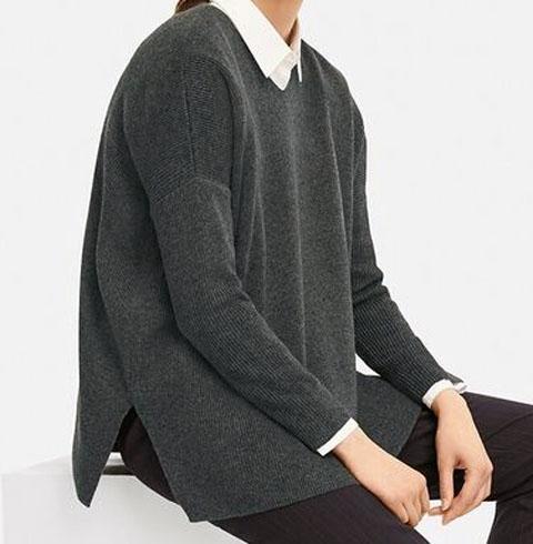 リブボクシーVネックロングセーター(長袖)、05 GRAY